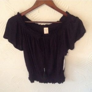 NWT Free People Black Boho Top
